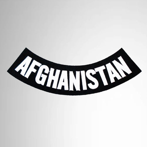 Afghanistan Black on White War Veteran Bottom Rocker Patch
