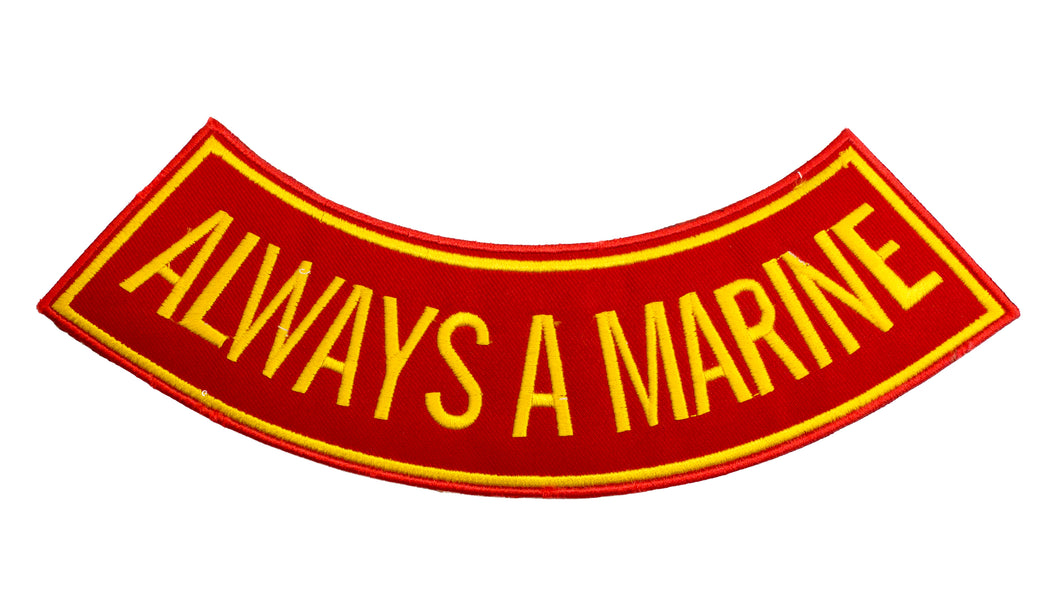 ALWAYS A MARINE Yellow with Boarder Bottom Rocker Patch for Vest BR429
