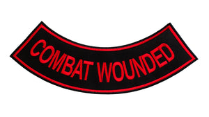 COMBAT WOUNDED Red on Black with Boarder Bottom Rocker Patch for Vest BR432