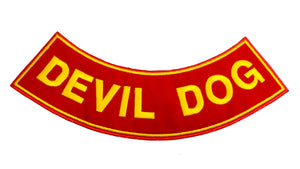 DEVIL DOG Yellow on Red with Boarder Bottom Rocker Patch for Vest BR433