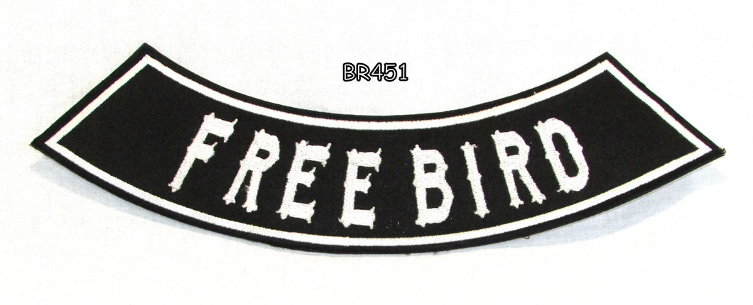 FREE BIRD White on Black Bottom Rocker Iron on Patch for Biker Vest BR451-STURGIS MIDWEST INC.