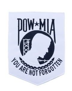 RARE POW PATCH WHITE WITH BLACK ON POW MIA YOU ARE NOT FORGOTTON LARGE BACK-STURGIS MIDWEST INC.