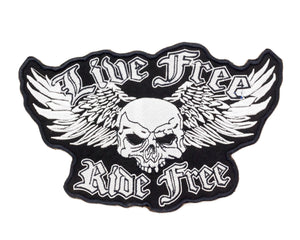 LIVE FREE RIDE FREE SKULL PATCH WINGS FOR BIKER MOTORCYCLE JACKET VEST LARGE NEW-STURGIS MIDWEST INC.