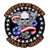 American By Birth Biker By Choice skull US Flag v twin Large Back Patch for Vest Jacket 10 inch-Center Patches