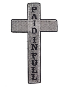 Christian Motorcycle Biker Back Patch Cross Paid In Full 10x7 for Biker Vest-STURGIS MIDWEST INC.