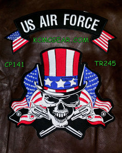 U.S. Air Force Skull & Flags Patch Patches Embroidered Custom Patches Biker Patches-STURGIS MIDWEST INC.