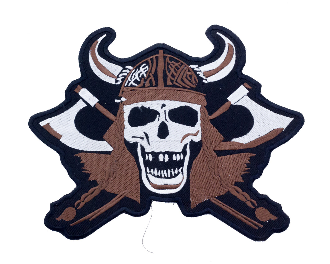 VIKING SKULL Battle Axes Patch for Vest Jacket-STURGIS MIDWEST INC.