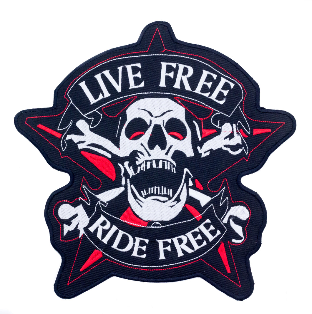 LIVE FREE RIDE FREE Screaming Skull and Crossbones Patch for Vest Jacket-STURGIS MIDWEST INC.