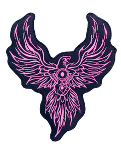 V-TWIN EAGLE PHOENIX Pink on Black Patch for Vest Jacket-STURGIS MIDWEST INC.