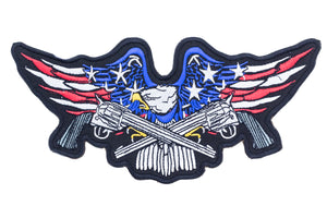 EAGLE WITH CROSS GUNS Iron on Center Patch for Biker Vest CP183-STURGIS MIDWEST INC.