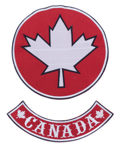 "Maple Leaf Center Patch Circle with Canada BR Red w/ White 10""-STURGIS MIDWEST INC."