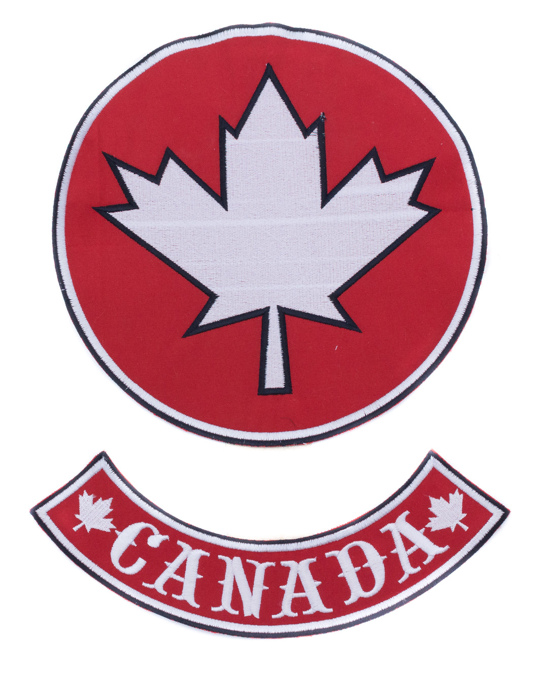 Maple Leaf Center Patch Circle with Canada BR Red w/ White 10