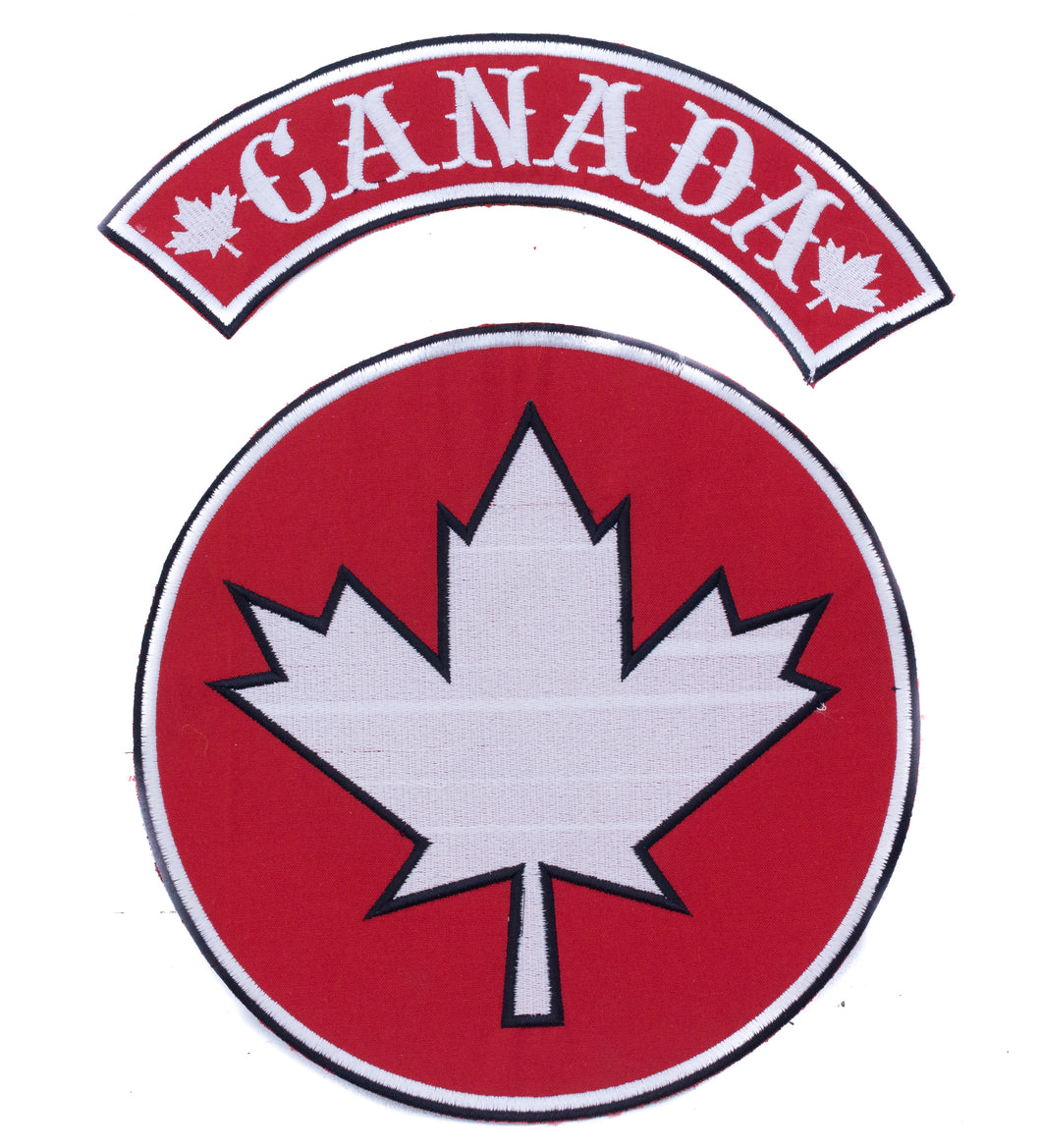 CANADA Flag Red and White Center and Top Rocker Iron on Patch for Biker Vest-STURGIS MIDWEST INC.