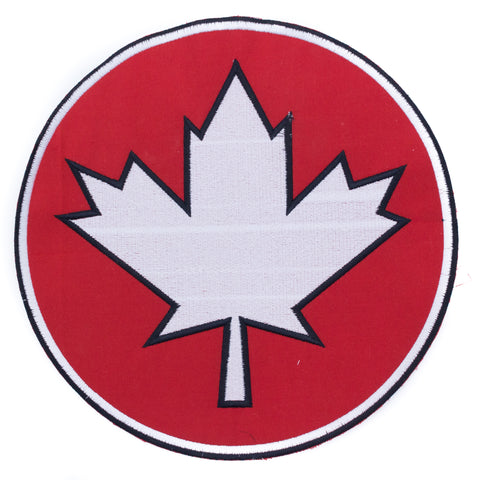CANADA Flag in Round Red and White Center Iron on Patch for Biker Vest CP192