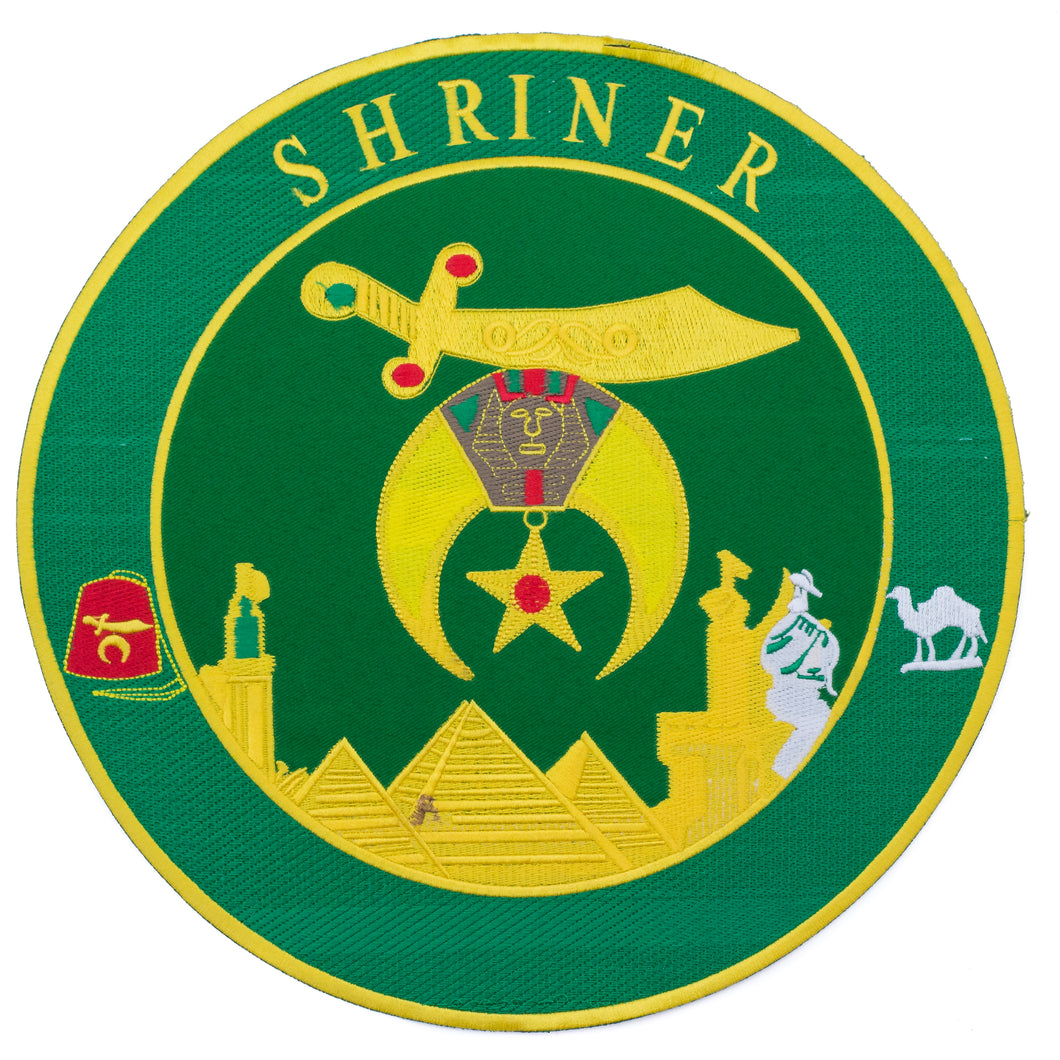 Shriner Green and Yellow in Round Center Iron on Patch for Biker Vest CP194G-STURGIS MIDWEST INC.