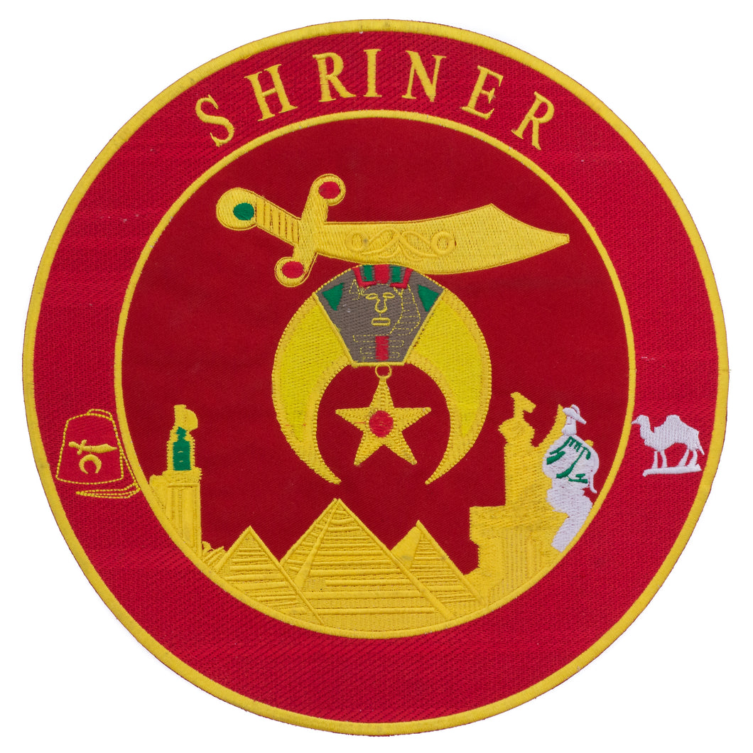 Shriner Red and Yellow in Round Center Iron on Patch for Biker Vest CP194R-STURGIS MIDWEST INC.