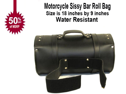 IMITATION leather Studded roll bag barrel bag trunk straps on with 3 inch Velcro strap