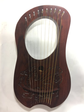 Lyre Harp 10 Metal String Solid Wood Handmade Carved with Tuning Wrench Extra String