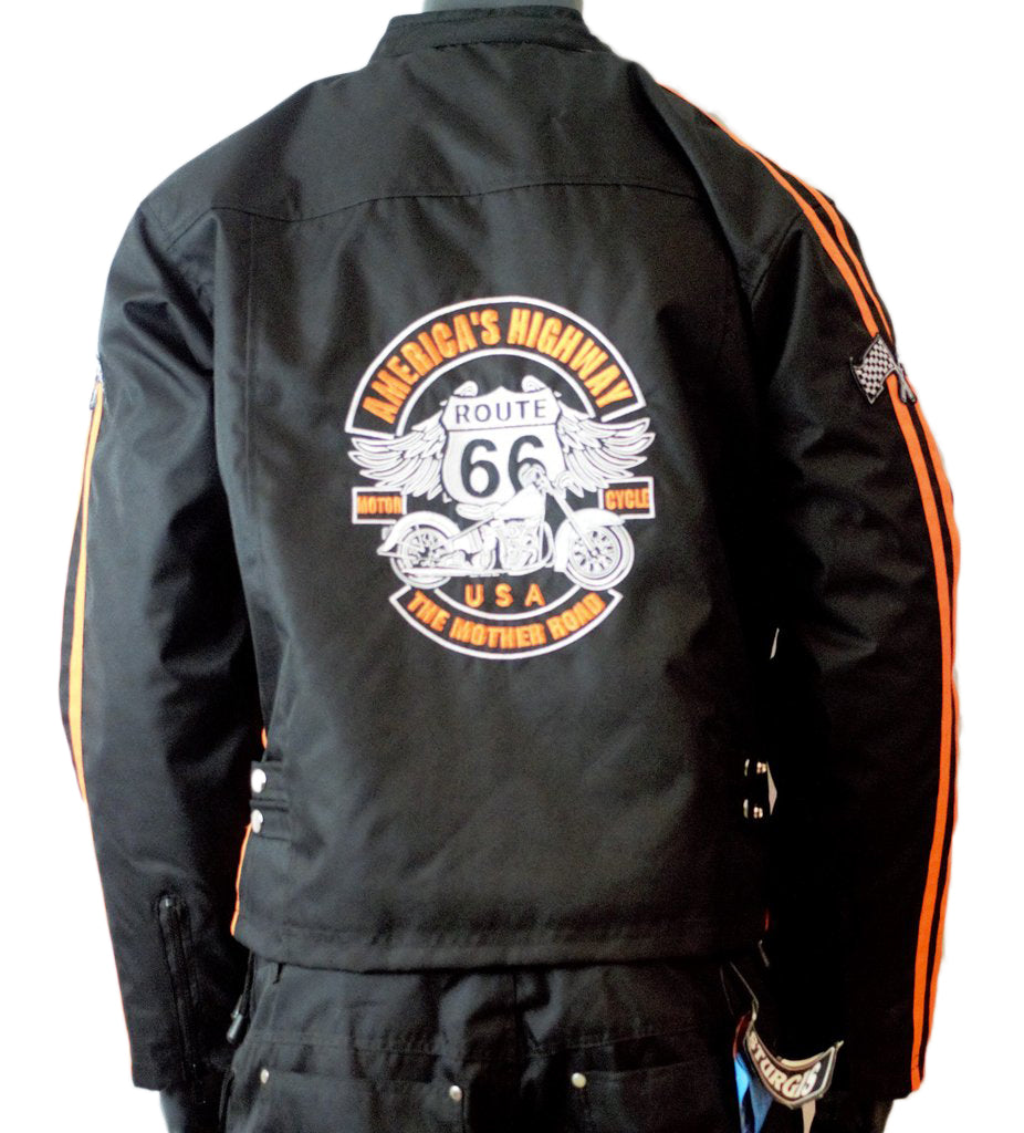 MOTORCYCLE WEATHER JACKET ORANGE ON BLACK CHEST SIZES 46-STURGIS MIDWEST INC.