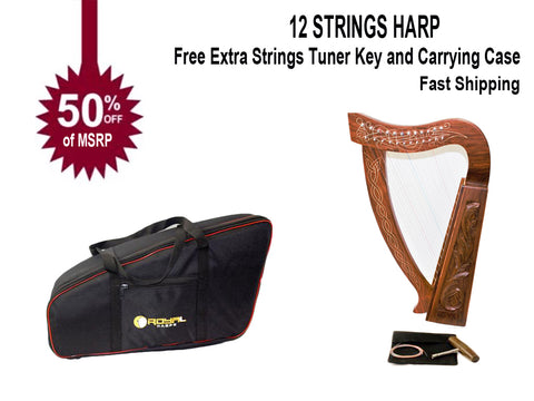 12 String Harp Celtic Design 24 inch TALL Extra Strings Tuner Carrying Case New