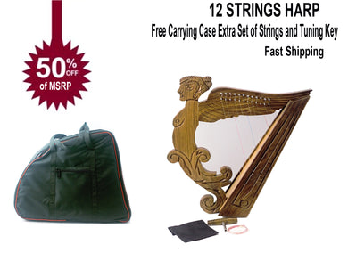 12 string Angel Shape Harp rose wood 21 inches Tall New-STURGIS MIDWEST INC.