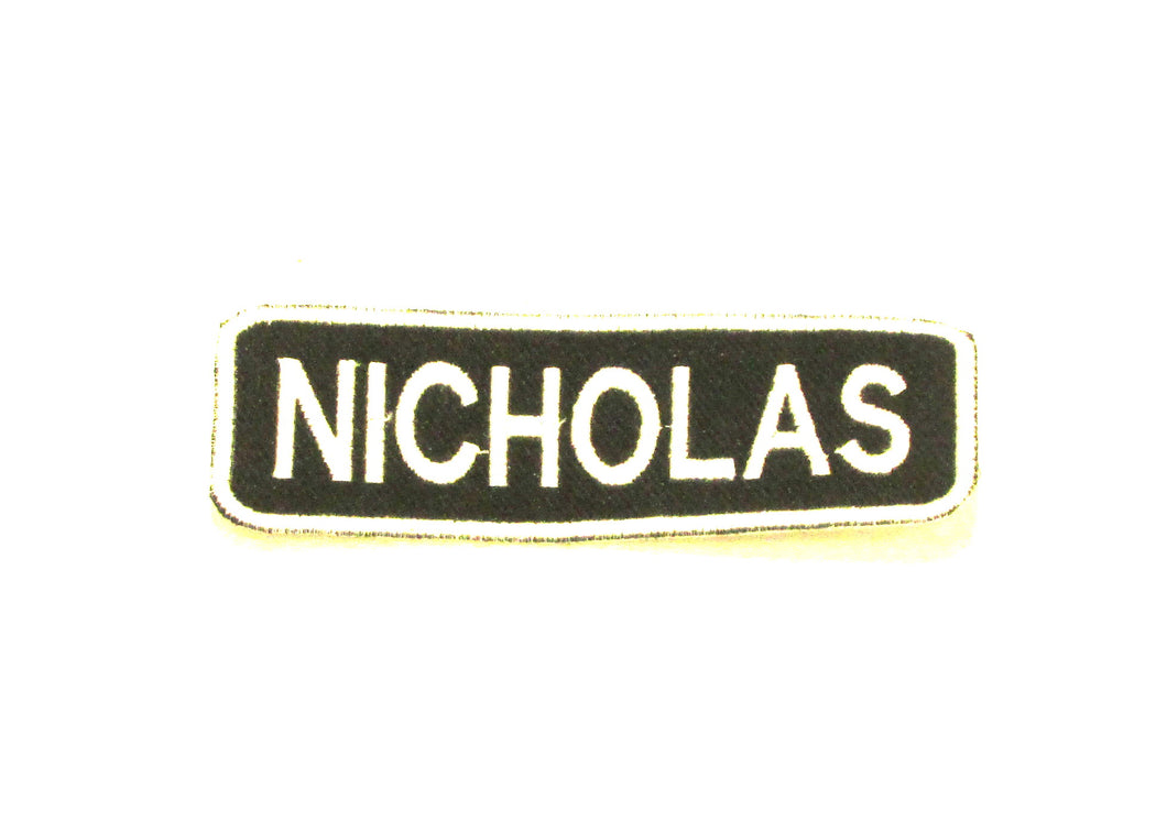 NICHOLAS White on Black Iron on Name Tag Patch for Biker Vest NB239-STURGIS MIDWEST INC.