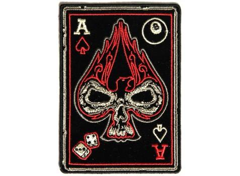 Ace of Spade Skull Patch dices 8 ball Biker Motorcycle vest jacket size 4