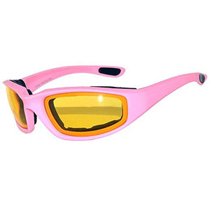 Women's Motorcycle Riding Glasses Padded Pink with Amber Glasses Night Time-STURGIS MIDWEST INC.