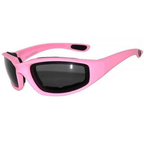 Women's Motorcycle Riding Glasses Padded Pink with Dark Glasses Day Time-STURGIS MIDWEST INC.