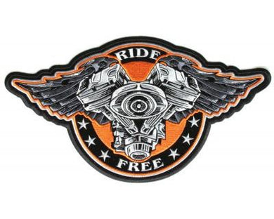 Ride Free Patch wings Motorcycle V twin Engine Stars orange black silver for vest jacket-STURGIS MIDWEST INC.