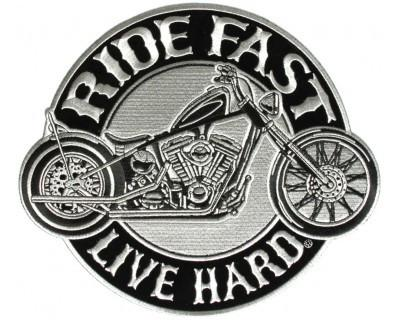 Ride Fast Live Hard Large Back Patch for Motorcycle Biker Vest Jacket silver-STURGIS MIDWEST INC.