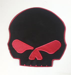 Red & Black Half Skull Patch large Back patch for Vest or Jacket Iron on-STURGIS MIDWEST INC.