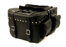 Load image into Gallery viewer, Saddlebag Studded Zip off with 2 End Pockets Two Strap lids Steel frame SAD104-STURGIS MIDWEST INC.