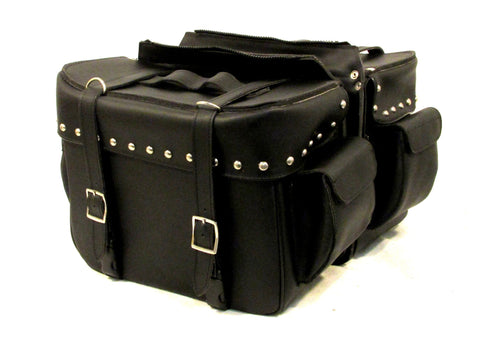 Saddlebag Studded Zip off with 2 End Pockets Two Strap Velcro lids Steel frame SAD104