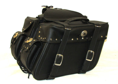 Saddlebag Studded Zip off With End Pocket and Concho Tapered Two Strap SAD574S-STURGIS MIDWEST INC.