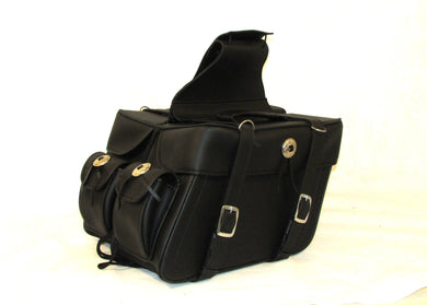 Saddlebag Zip off With End Pocket and Concho Tapered Two Strap SAD574-STURGIS MIDWEST INC.