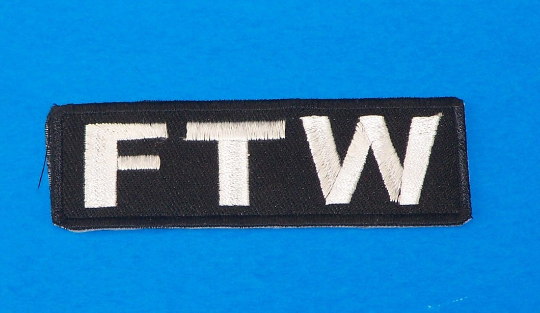 FTW White on Black Small Iron on Patch for Biker Vest SB1053-STURGIS MIDWEST INC.