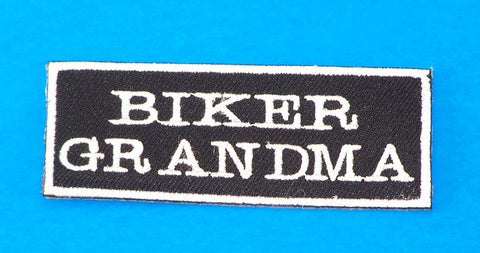 Biker Grandma White on Black Small Iron on Patch for Biker Vest SB1059