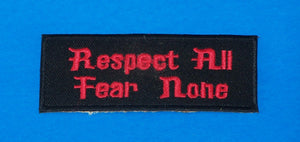 Respect all Fear none Red on Black Small Iron on Patch for Biker Vest SB1066-STURGIS MIDWEST INC.