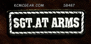SGT AT ARMS White on Black Small Patch for Vest jacket SB487-STURGIS MIDWEST INC.