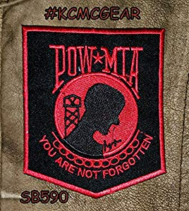 POW MIA Red on Black Small Patch for Vest jacket SB590