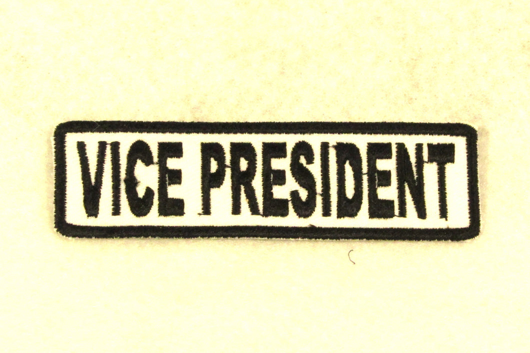 VICE PRESIDENT Black on White Small Patch for Biker Vest SB679-STURGIS MIDWEST INC.
