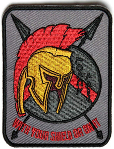 Spartan With Your Shield Or On It Patch IRON ON - 2.7x3.5 inch-STURGIS MIDWEST INC.