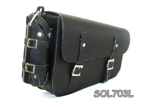 Two strap leather swing arm bag three adjustable strap mounting SOL703L-STURGIS MIDWEST INC.