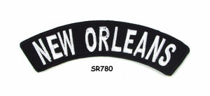 New Orleans White on Black Small Rocker Iron on Patches for Biker Vest and Jacket-STURGIS MIDWEST INC.