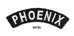 Phoenix White on Black Small Rocker Iron on Patches for Biker Vest and Jacket-STURGIS MIDWEST INC.