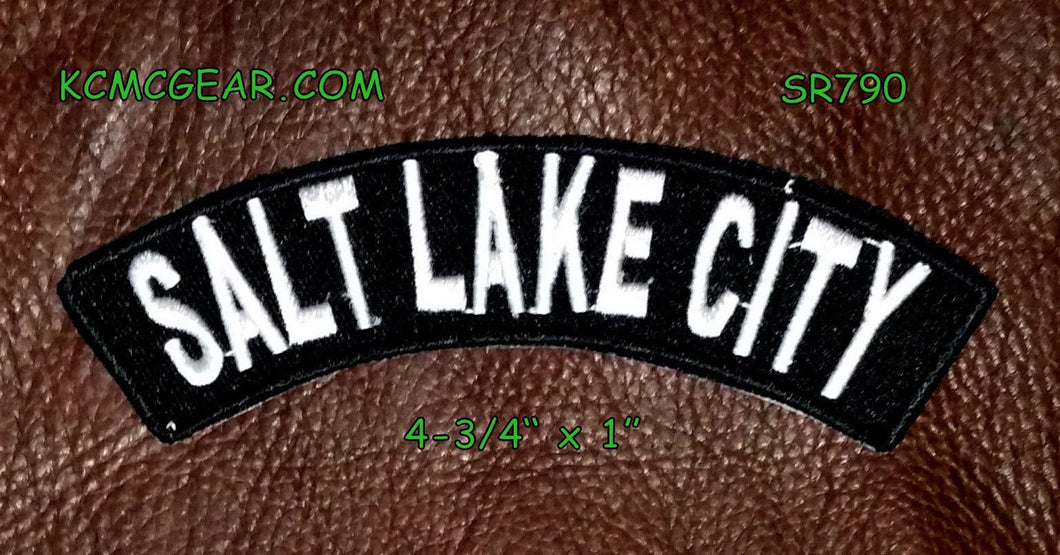 Salt Lake City Rocker Small Embroidered Biker Patches for sleeve-STURGIS MIDWEST INC.