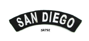San Diego White on Black Small Rocker Iron on Patches for Biker Vest and Jacket-STURGIS MIDWEST INC.