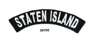 Staten Island White on Black Small Rocker Iron on Patches for Biker Vest and Jacket-STURGIS MIDWEST INC.
