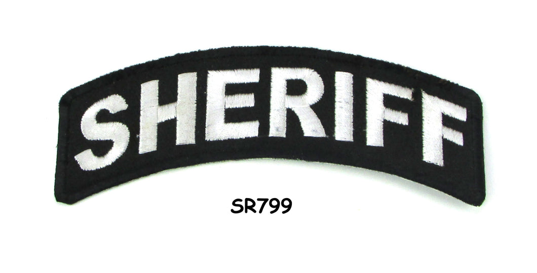 Sheriff White on Black Small Rocker Iron on Patches for Biker Vest and Jacket-STURGIS MIDWEST INC.